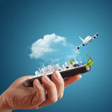 Hand holds touch screen smart phone Royalty Free Stock Photo