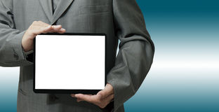 Hand holds and touch tablet computer Royalty Free Stock Photos