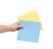 Hand holds two cleaning sponges. Royalty Free Stock Images