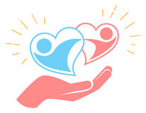 Hand holds two loving hearts. Icon of two loving hearts in a dance. hand holds two loving hearts Stock Photo