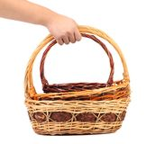 Hand holds two vintage weave wicker basket Royalty Free Stock Images