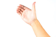 Hand holds  virtual smart phone on white isolated Stock Photos