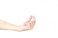 Hand holds  on white isolated background Royalty Free Stock Photos