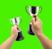 Hand hole silver cup Royalty Free Stock Photography