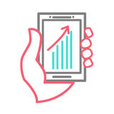 Hand holing smart phone with chart Stock Photo