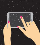 Hand holing smartphone, touching screen. Hand of woman hold tabl Stock Images