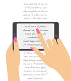 Hand holing smartphone, touching screen. Hand of woman hold  Royalty Free Stock Photos