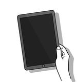 Hand holing tablet computer with blank screen. Using digital tablet, flat design concept. Vector flat illustration Royalty Free Stock Photography