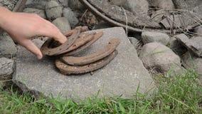 Hand horse shoe stone Royalty Free Stock Image