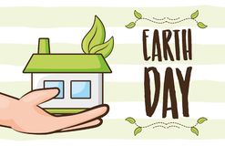 Earth day card. Hand with house ecology earth day card vector illustration stock illustration