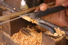 Hand houten draaibank Stock Afbeelding