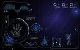 Hand hud interface ui technology innovation computer concept design template background Royalty Free Stock Images
