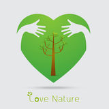 Hand hug love natural concept.sign in the line art style.a beaut Stock Image