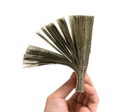 Hand with huge amount of money Royalty Free Stock Photos