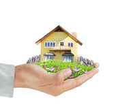 In hand huis modelconcept stock foto