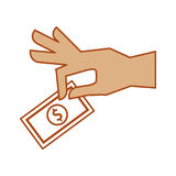 Hand human with bill money isolated icon Stock Photo