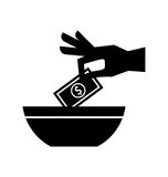 Hand human with bill money isolated icon Stock Images