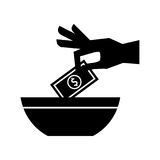 Hand human with bill money isolated icon Stock Photos