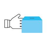 Hand human with box carton packing icon Royalty Free Stock Image