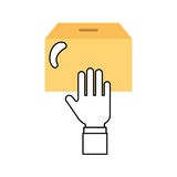 Hand human with box carton packing icon Royalty Free Stock Photography