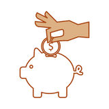 Hand human with coin money Stock Photos