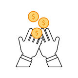 Hand human with coin money Royalty Free Stock Photo