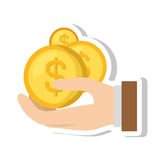 Hand human with coins dollar isolated icon Royalty Free Stock Photos