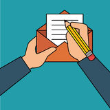 hand human with envelope Royalty Free Stock Image