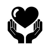 Hand human with heart love Royalty Free Stock Images