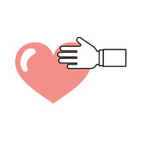 Hand human with heart love Stock Photography