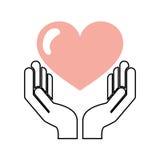 Hand human with heart love Stock Photo