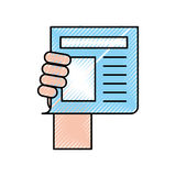 Hand human with newspaper journal isolated icon Stock Photo
