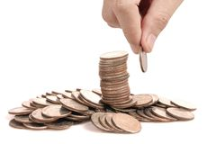 Hand human hand putting coin to money Stock Photography