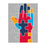 Hand human with puzzle game pieces isolated icon Royalty Free Stock Photos
