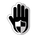 Hand human with shield silhouette icon Royalty Free Stock Photos