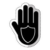 Hand human with shield silhouette icon Royalty Free Stock Image