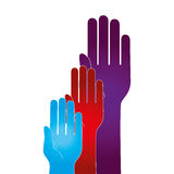 Hand human silhouette colors community icon Stock Images