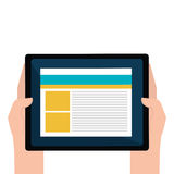 Hand human with tablet device isolated icon. Vector illustration design stock illustration