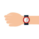 Hand human with watch isolated icon. Vector illustration design Royalty Free Stock Images