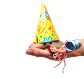 Hand Humor. Hand puppet dressed up for a celebration over a white background Stock Photos