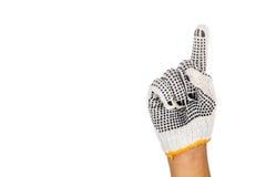 Hand i den industriella handsken som gör en gest nummer ett mot vitbaksida Royaltyfri Bild
