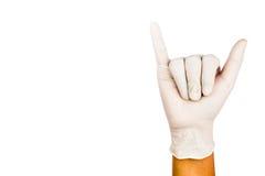 Hand i den kirurgiska latexhandskegesten nummer sex Royaltyfri Fotografi
