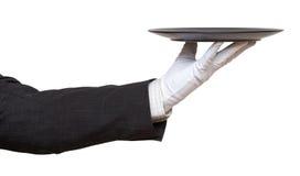 Hand i den vita handsken med den svarta plattan Royaltyfria Bilder