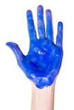 Hand i målarfärg Fotografering för Bildbyråer