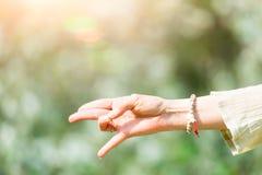 Hand i yogaposition i natur Arkivbilder