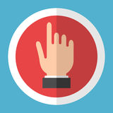 Hand icon in circle. Hand touching screen in red circle with white frame on blue background. User interface concept. Flat design icon. Vector illustration. EPS 8 Royalty Free Stock Photo