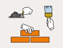 Hand icon laying brick, using spatula or trowel, painting with brush Stock Image