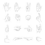 Hand icon, outline empty silhouette set, vector. Vector illustrations set of outline human hands in various gestures Stock Images