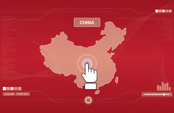 Hand icon pushing china map Stock Image