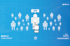 Hand icon pushing human button. Social network concept royalty free illustration